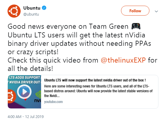Ubuntu LTS 版本将提供最新的 Nvidia 驱动更新 - OSCHINA
