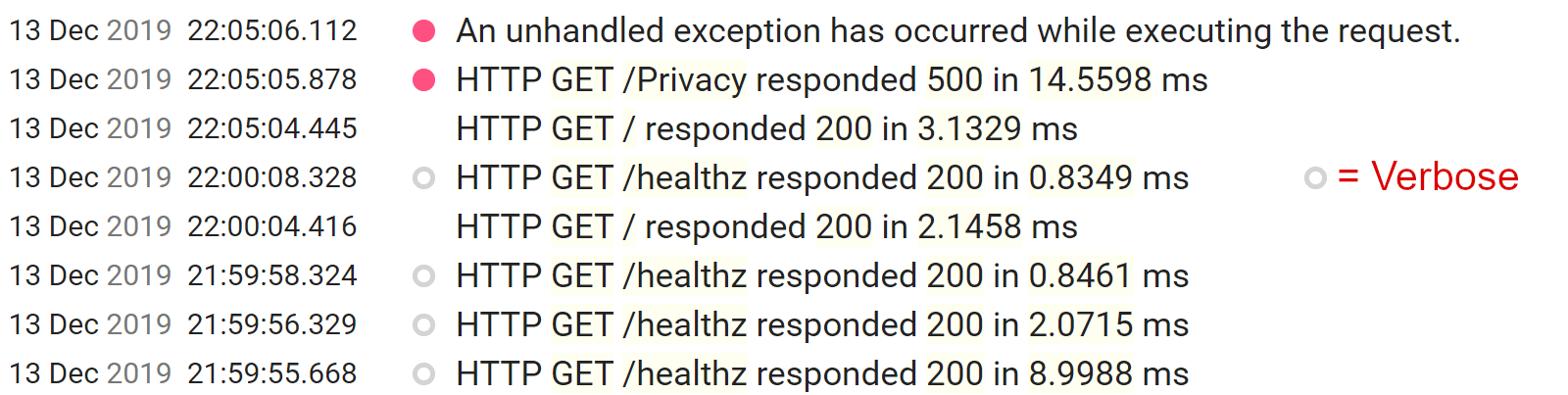 Seq屏幕截图显示了使用详细级别的运行状况检查请求