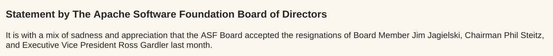 Apache 基金会创始人、主席与执行副总裁三人离职A