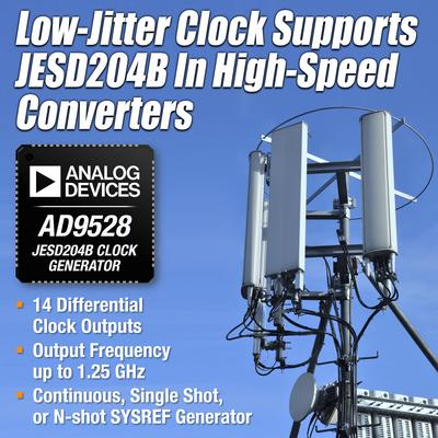 ADI推出AD9528 JESD204B时钟和SYSREF发生器