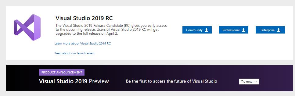 Visual Studio 2019 RC入门指南的图像1  - 第1部分
