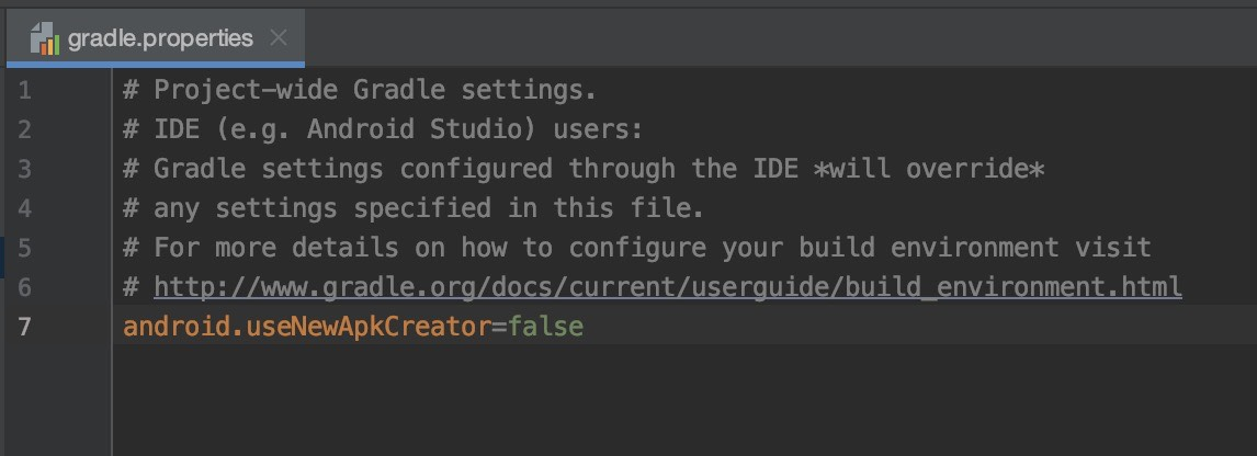 编辑 gradle.properties 文件以禁用新的打包工具