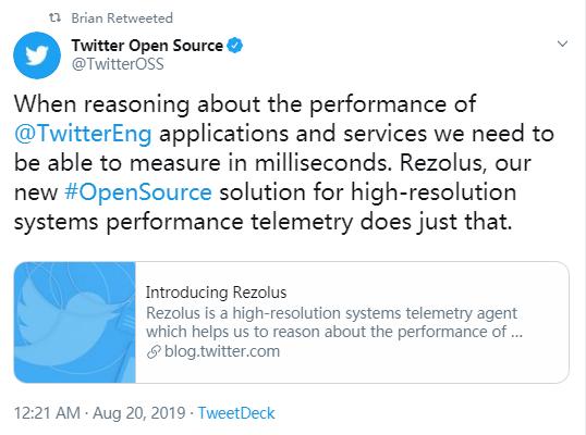 Twitter宣布开源高分辨率遥测工具 Rezolus 轻松捕获系统性能异常瞬间