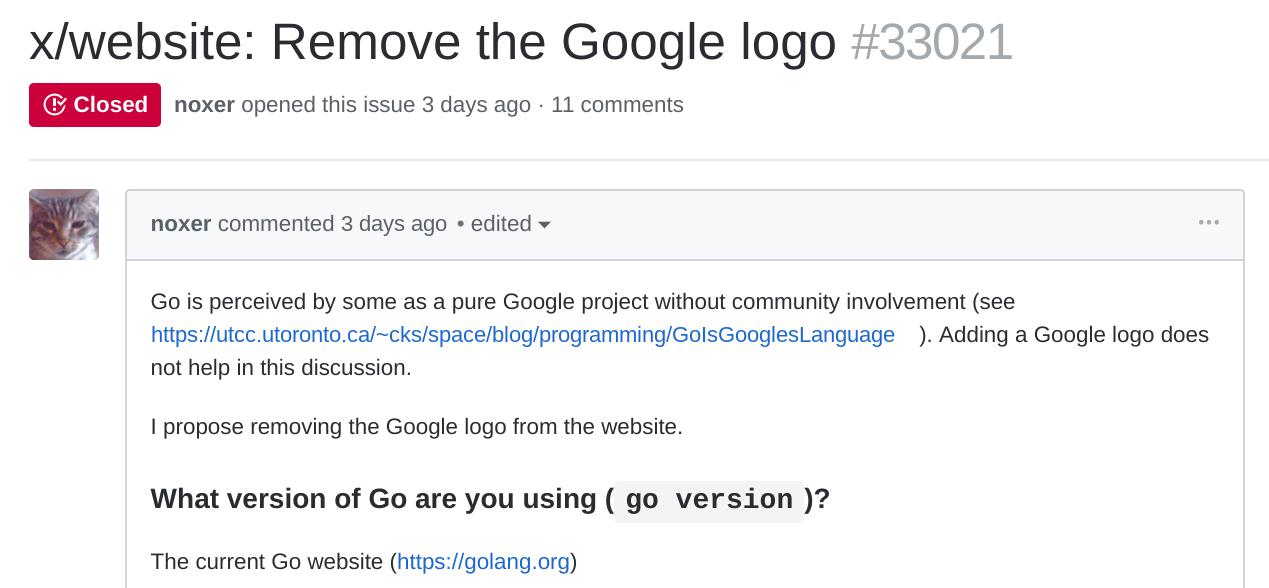 Golang 到底姓什么?开发者想移除谷歌 logo