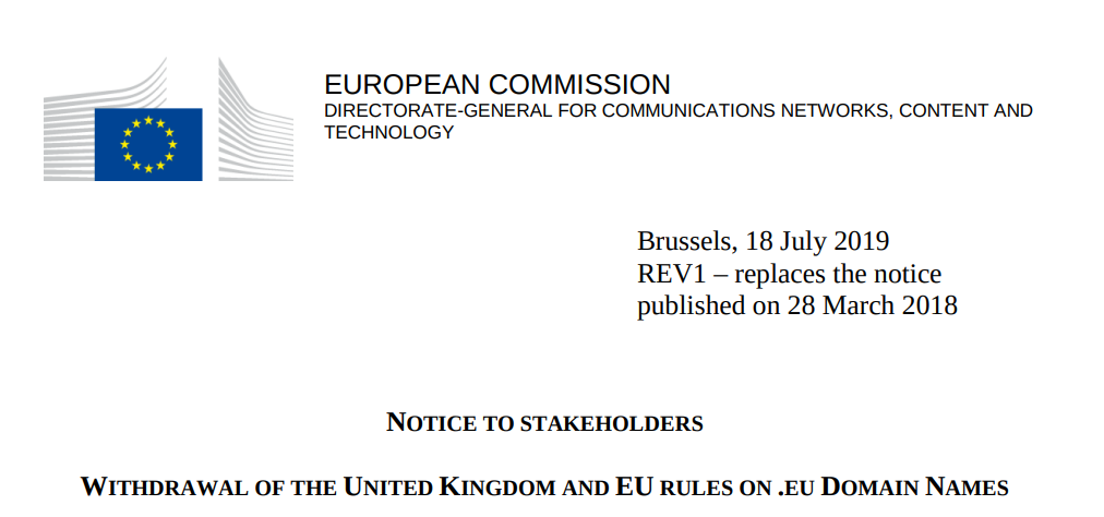 欧盟修改规定,脱欧后英国人还可以注册 .eu 域名