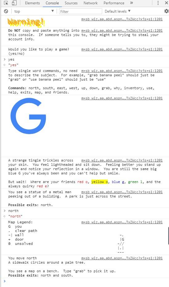 谷歌搜索 text adventure,就可以在開發者工具玩遊戲了