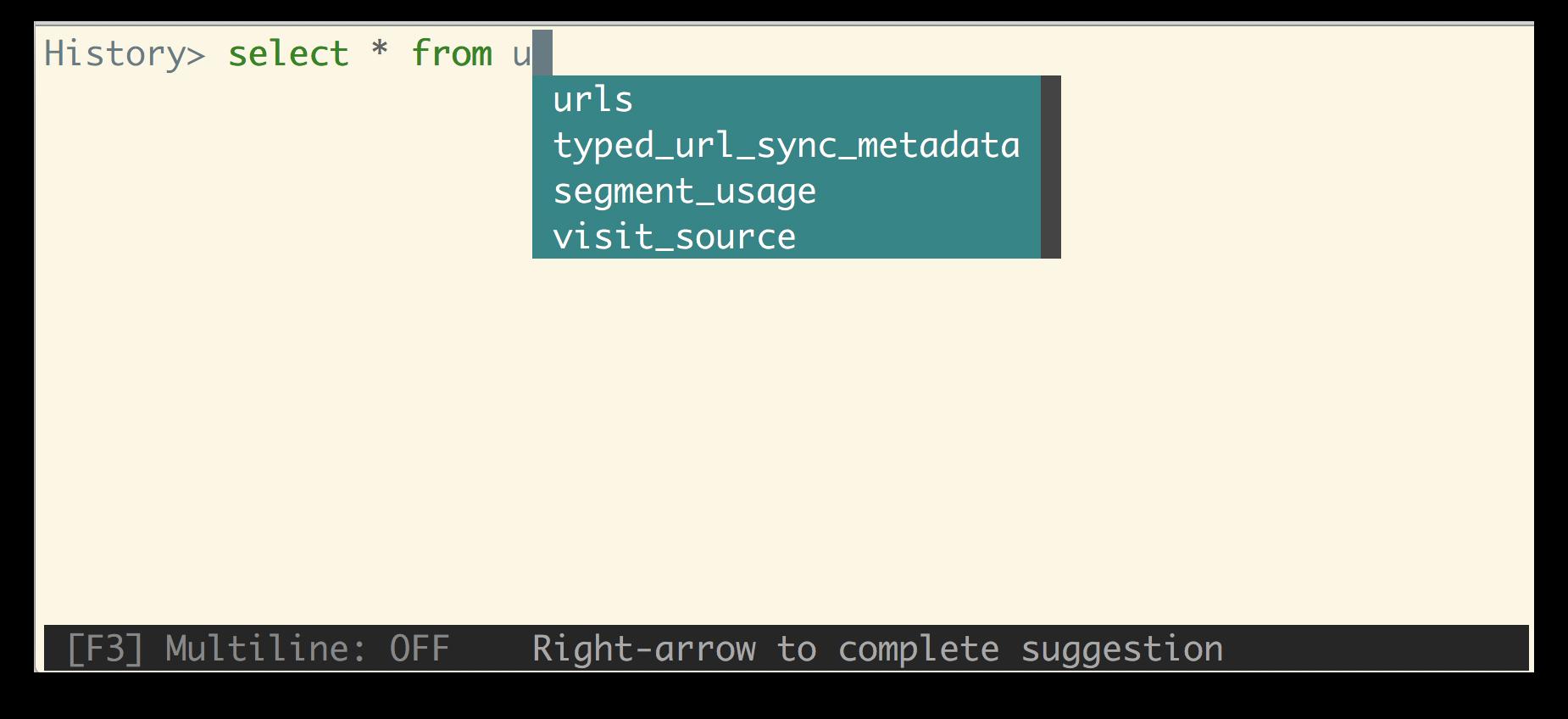 SQLite 数据库命令行工具 litecli
