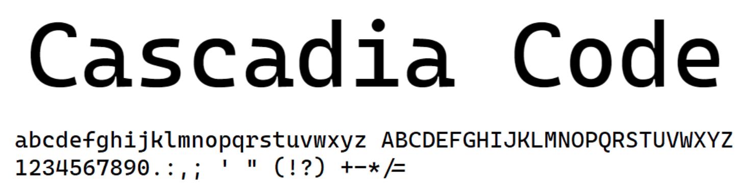 微软开源新字体 Cascadia Code,与 Terminal 一起开发
