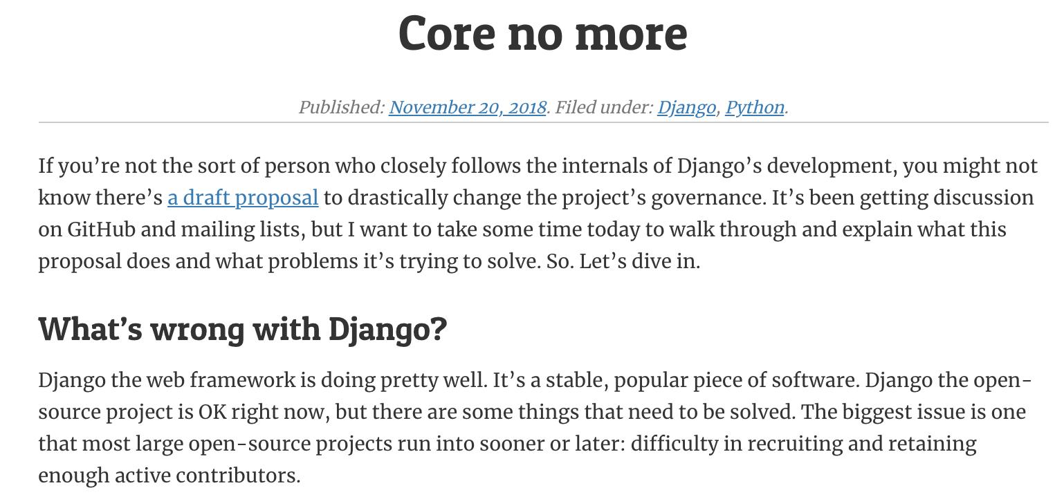 Django 面臨發展困境,意欲進行整改並廢除核心團隊