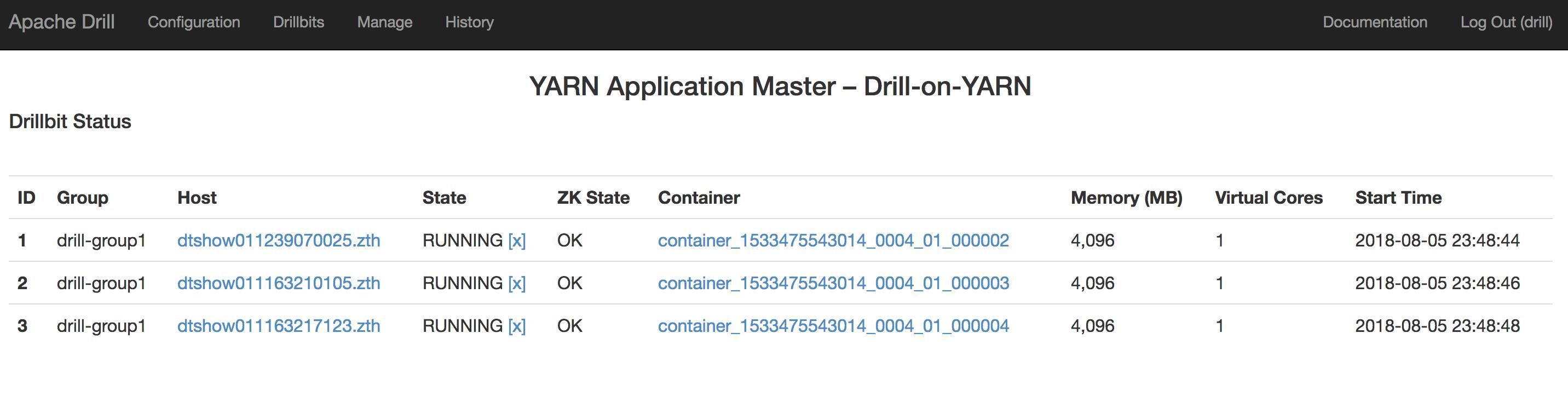 Drill-on-YARN运维页面
