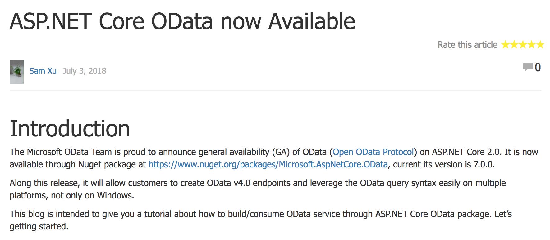 微软宣布ASP NET Core 2 0 正式支持OData 标准- OSCHINA