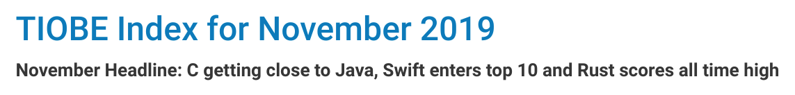 TIOBE 11 月榜单:C、Swift、Go、D 与 Rust 起起伏伏