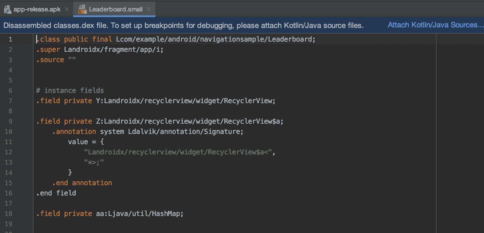 将 Kotlin/Java 源代码附加到导入的 APKs