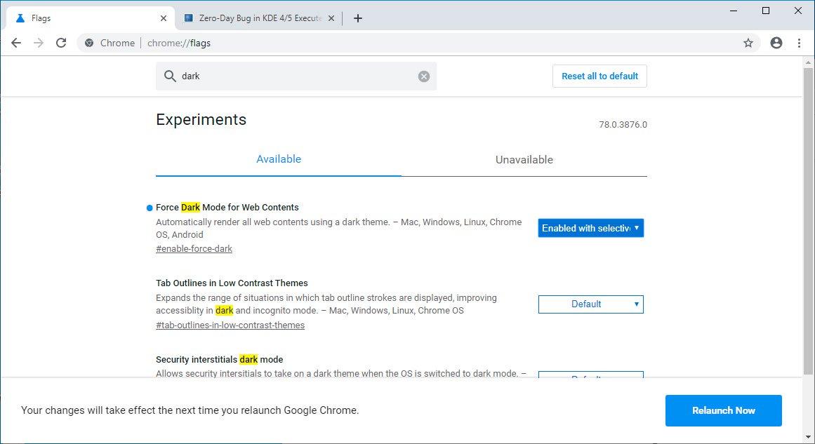 Google Chrome测试新功能:强制任何网站进入暗黑模式