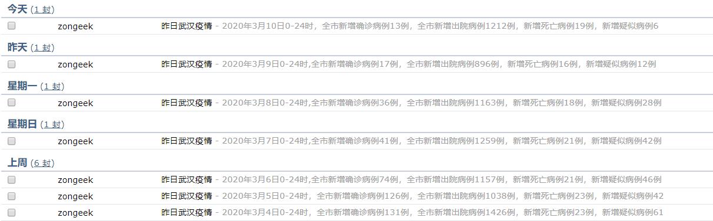 自动接收的邮件列表
