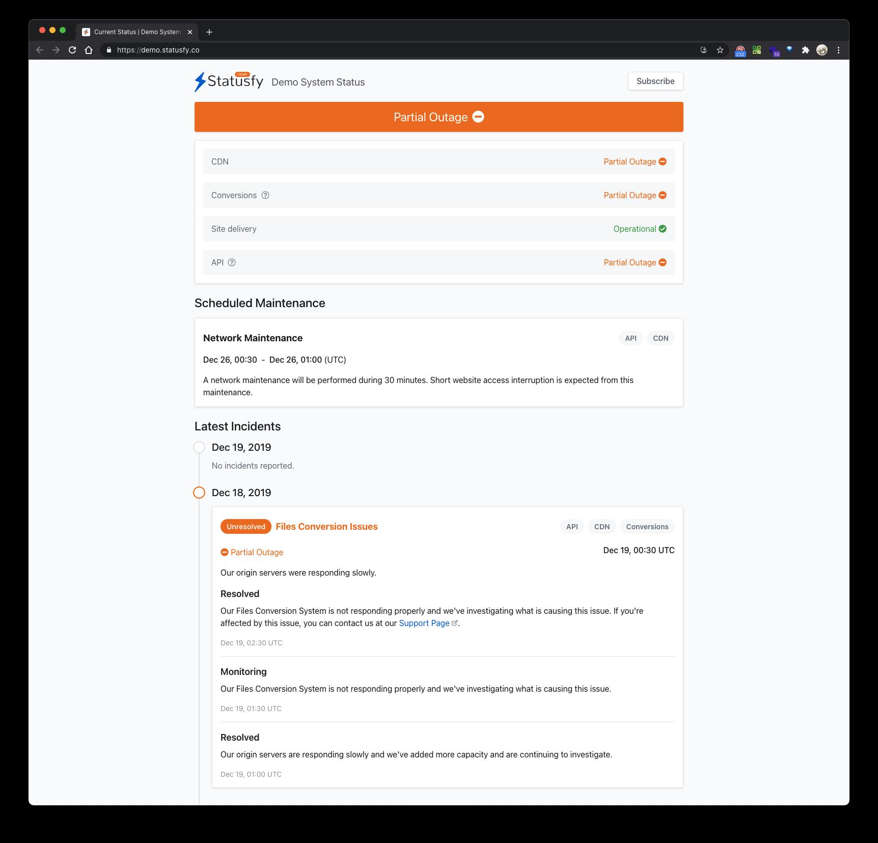 开源状态页系统 Statusfy