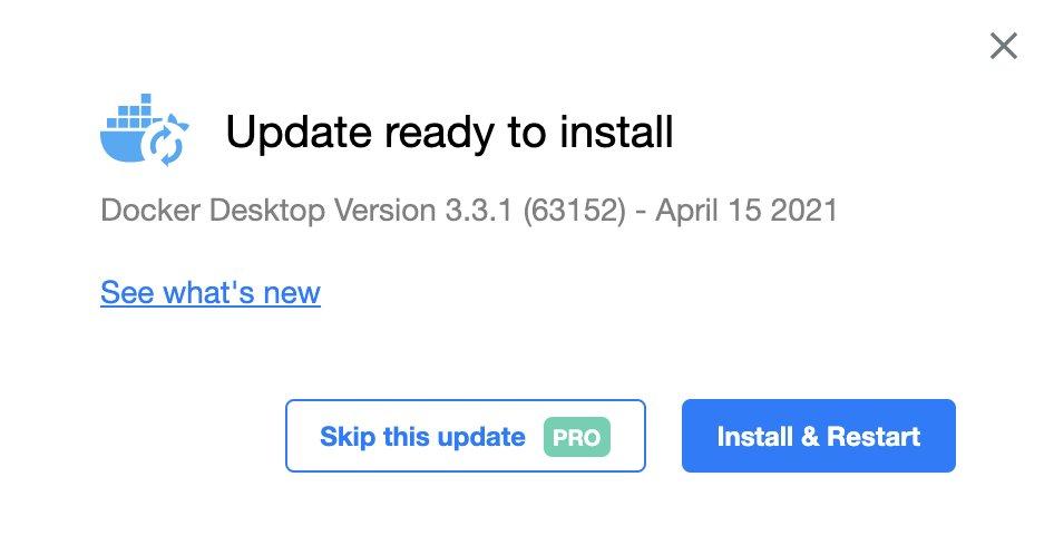 "Docker 的""跳过更新""是付费功能"
