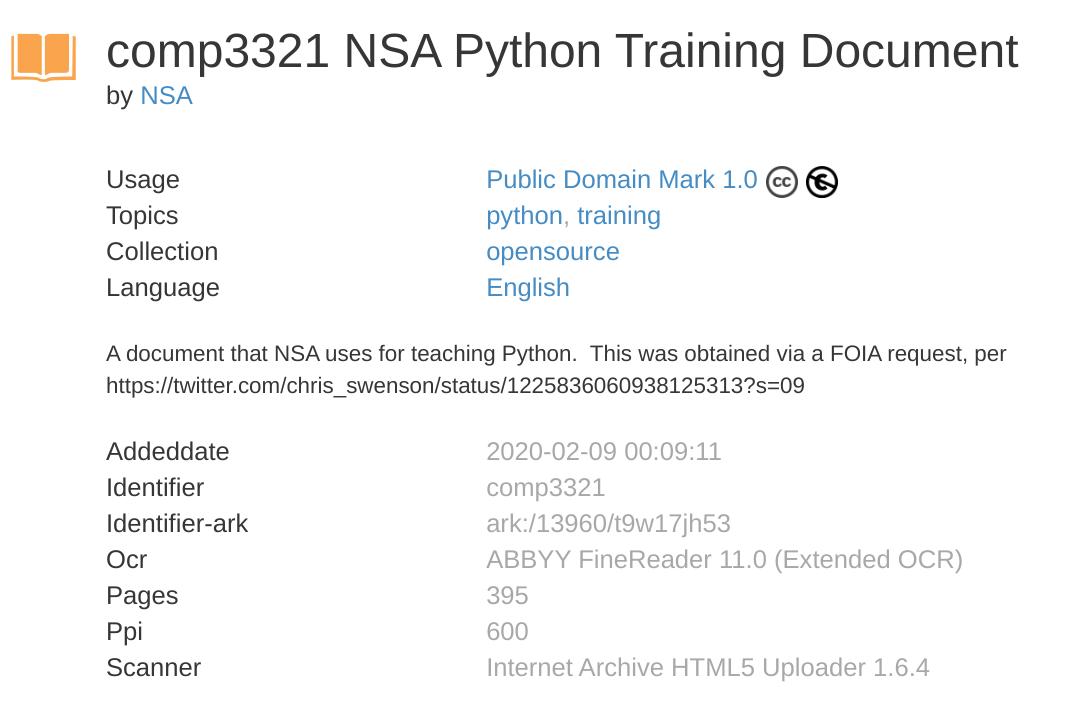 美国国家安全局 NSA 的 Python 培训文档公开