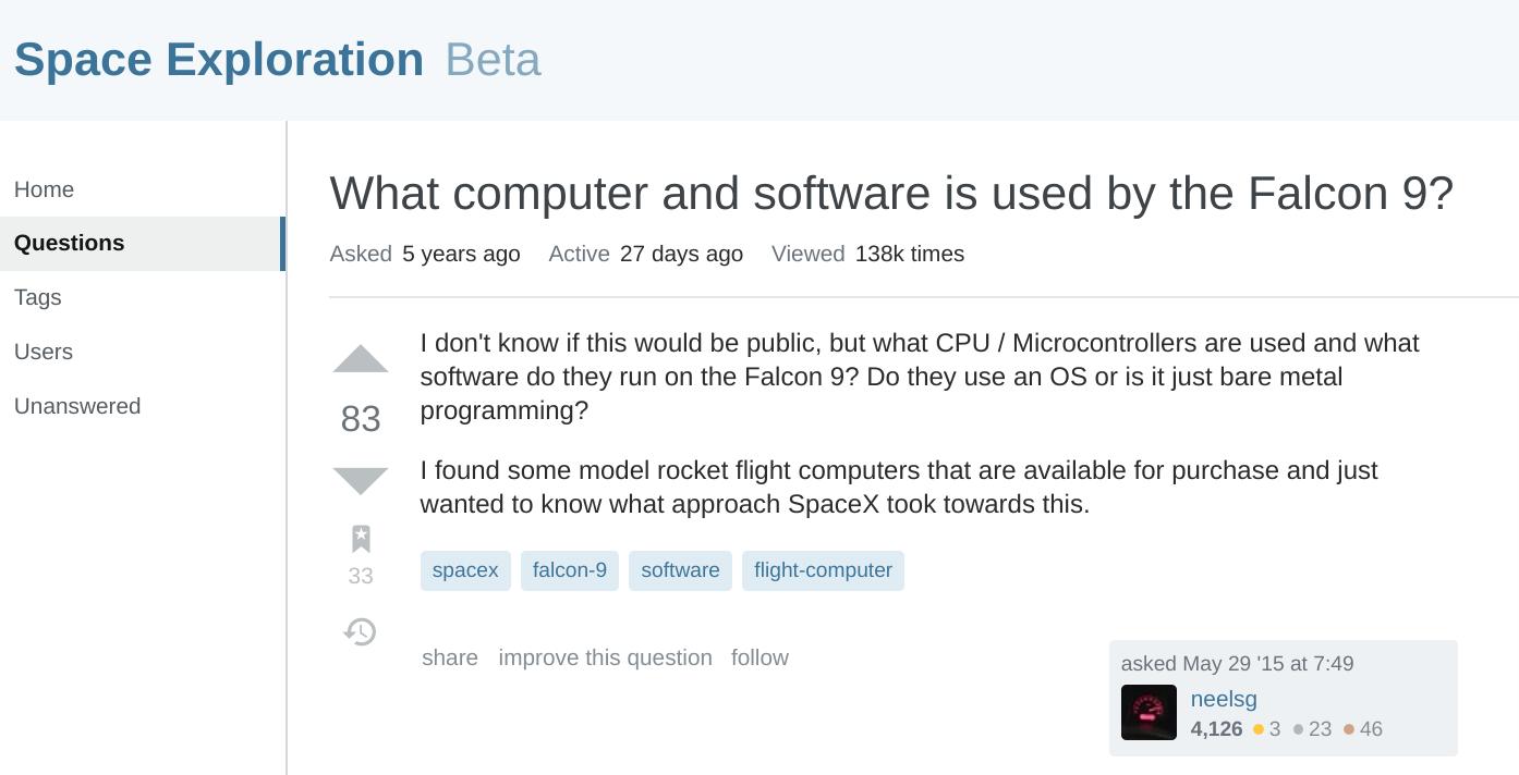 猎鹰与龙飞船基于 Linux,采用 C++、Chromium 与 JS 开发