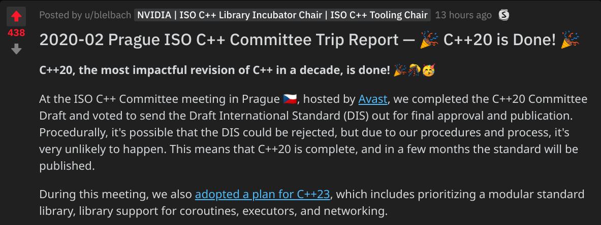 ISO C++ 委员会准备发布C++ 20