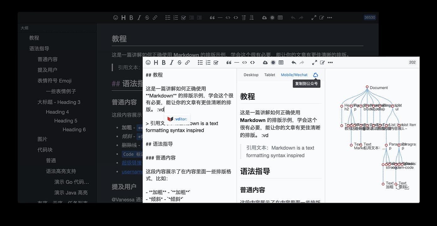 浏览器端 Markdown 编辑器 Vditor