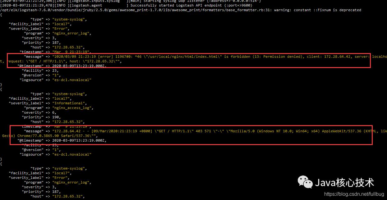 通过Elasticsearch-head在ES 中也可以看到有相应的日志