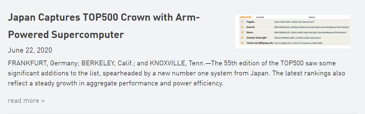 多年来,x86 处理器和 Linux 一直统治着超级计算。直到现在,外媒消息称,6 月 22 日,日本的由富士通的 48 核 A64FX SoC 驱动、运行 Red Hat Enterprise Linux(RHEL)的 Fugaku 超级计算机,成为了第一台由 ARM 驱动的、世界上最快的计算机。这是在 TOP500 超级计算机竞赛中,由 ARM 驱动的超级计算机首次获得第一名。插图