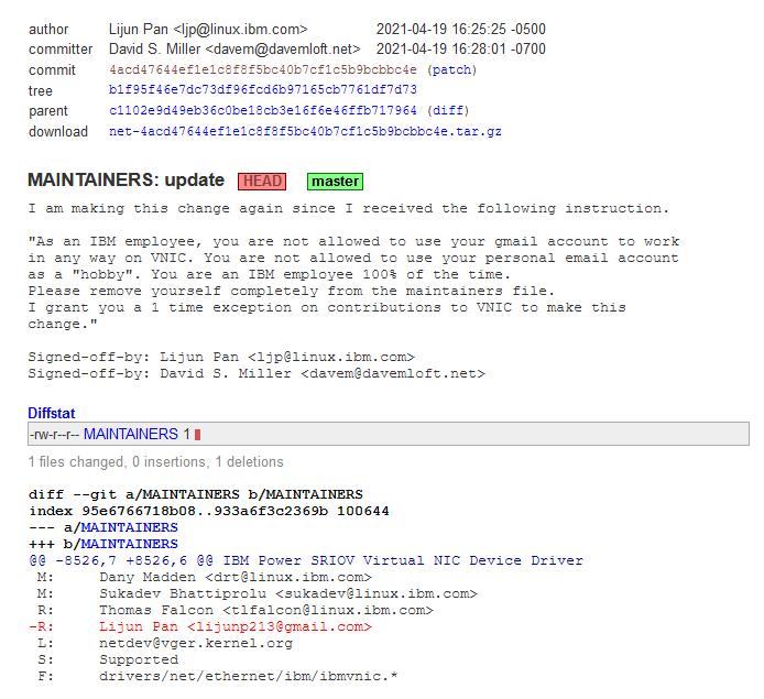 IBM 不满员工为内核贡献代码时使用自己邮箱