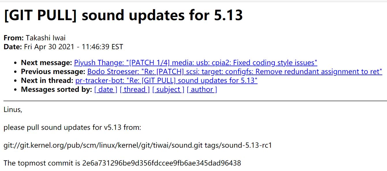 Linux 5.13 的音频相关更新已合并到主线