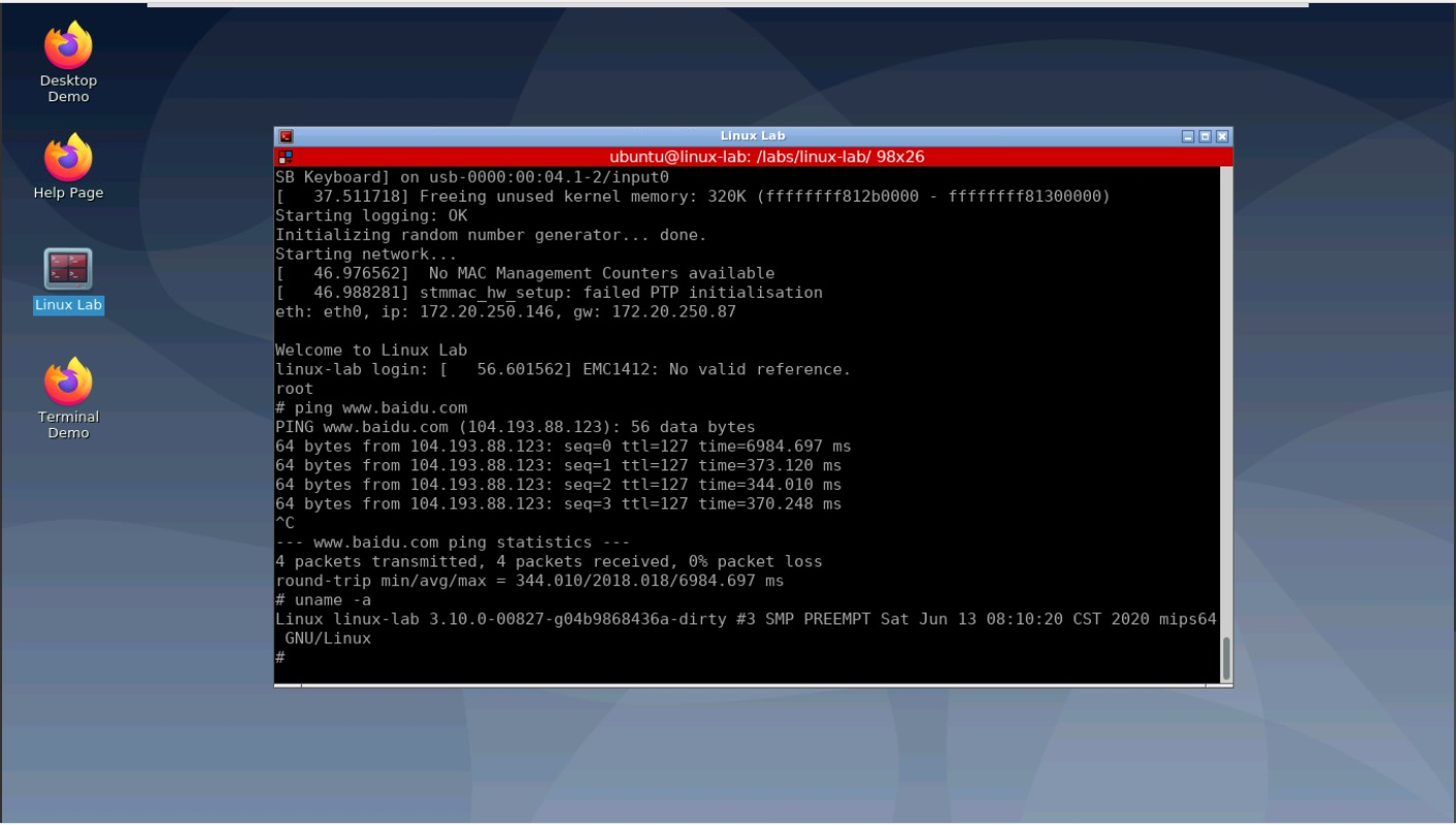 Linux Lab Boot example