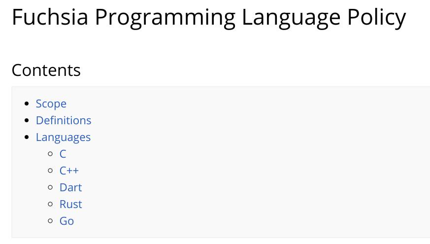 Fuchsia 编程语言策略:前端用 Dart,Go 要退出