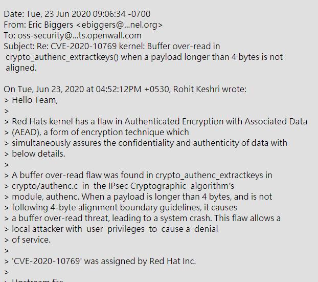 Red Hat 报告了一个安全问题,可导致 DoS