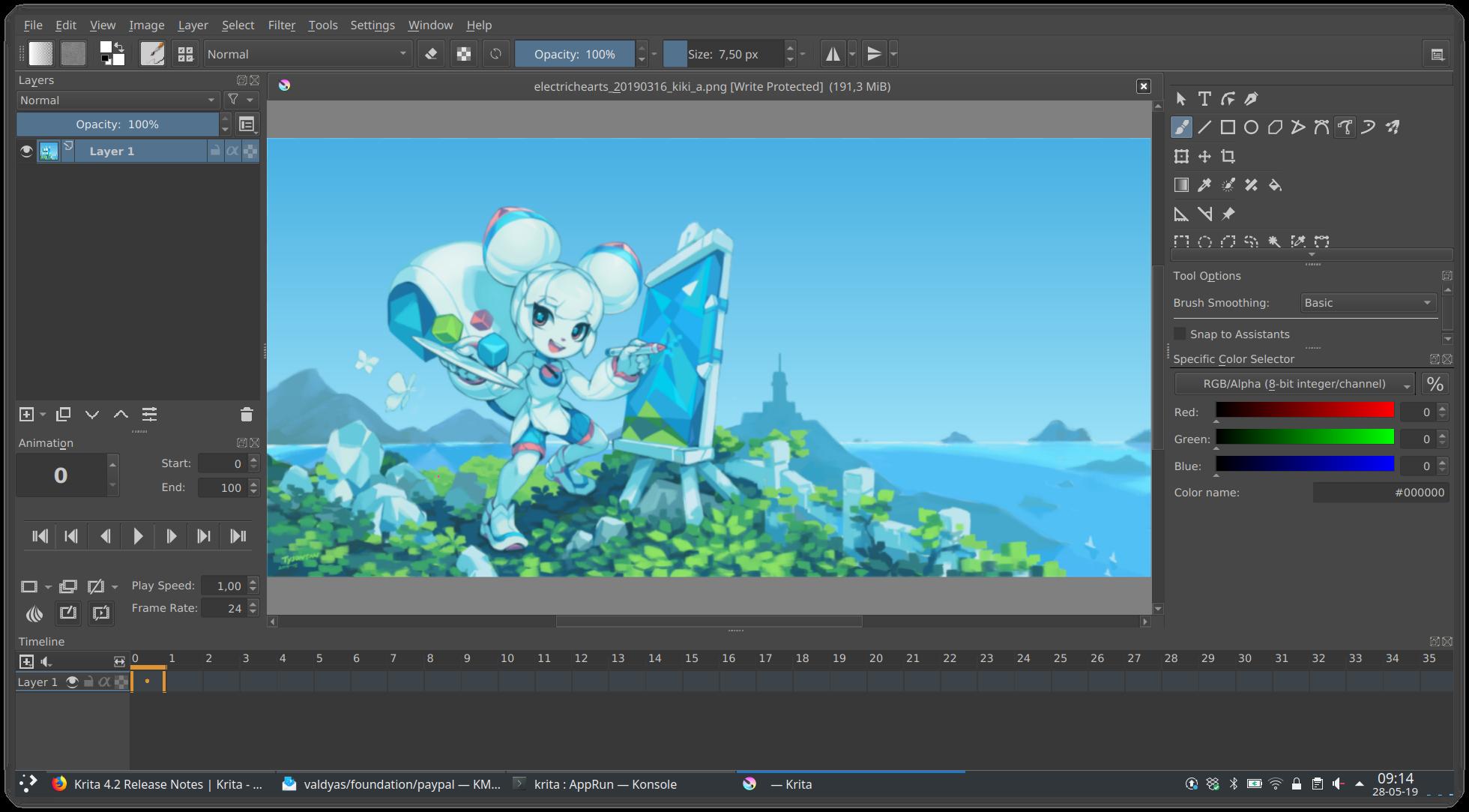 Krita 的动画工作区模式