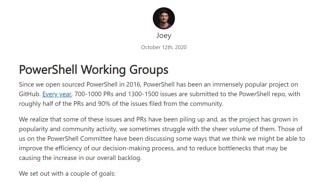PowerShell 引入工作组概念,向社区贡献者抛出橄榄枝
