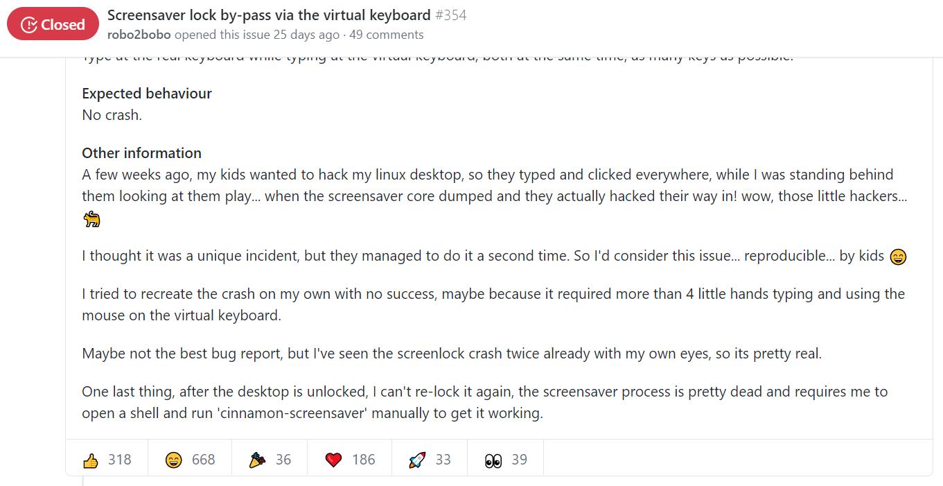 Linux 桌面被小孩随意攻破,程序员大神与官方人员展开 battle