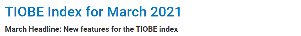 TIOBE 3 月榜单:将新增编程语言属性、趋势等功能