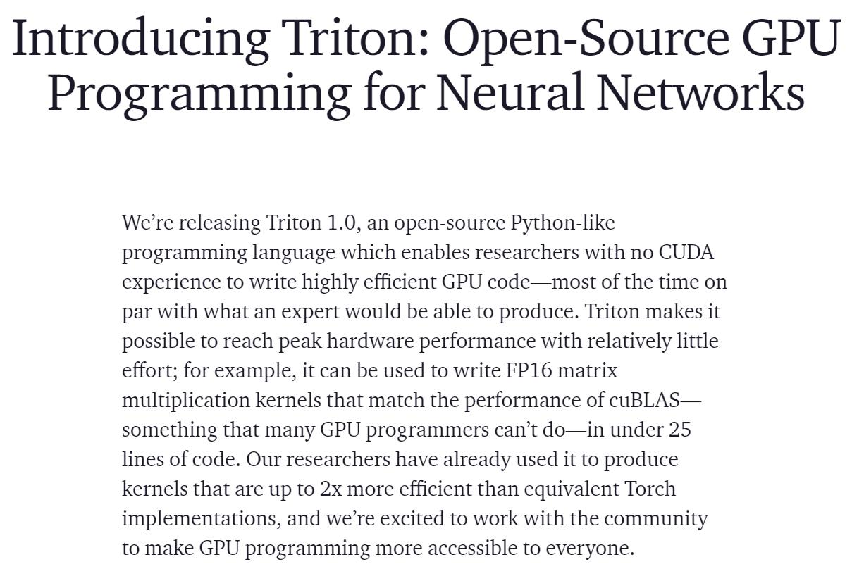 OpenAI 开源新的 AI 编程语言,以替代 Nvidia CUDA
