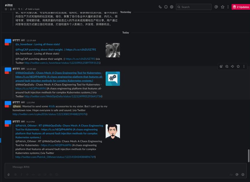 我们的 IFTTT 机器人在收集提及 TiDB、PingCAP 的推文